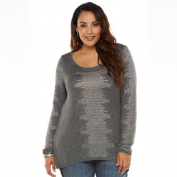 Plus Size Rock & Republic® Lurex Tunic Sweater ($15) ❤ liked on ...