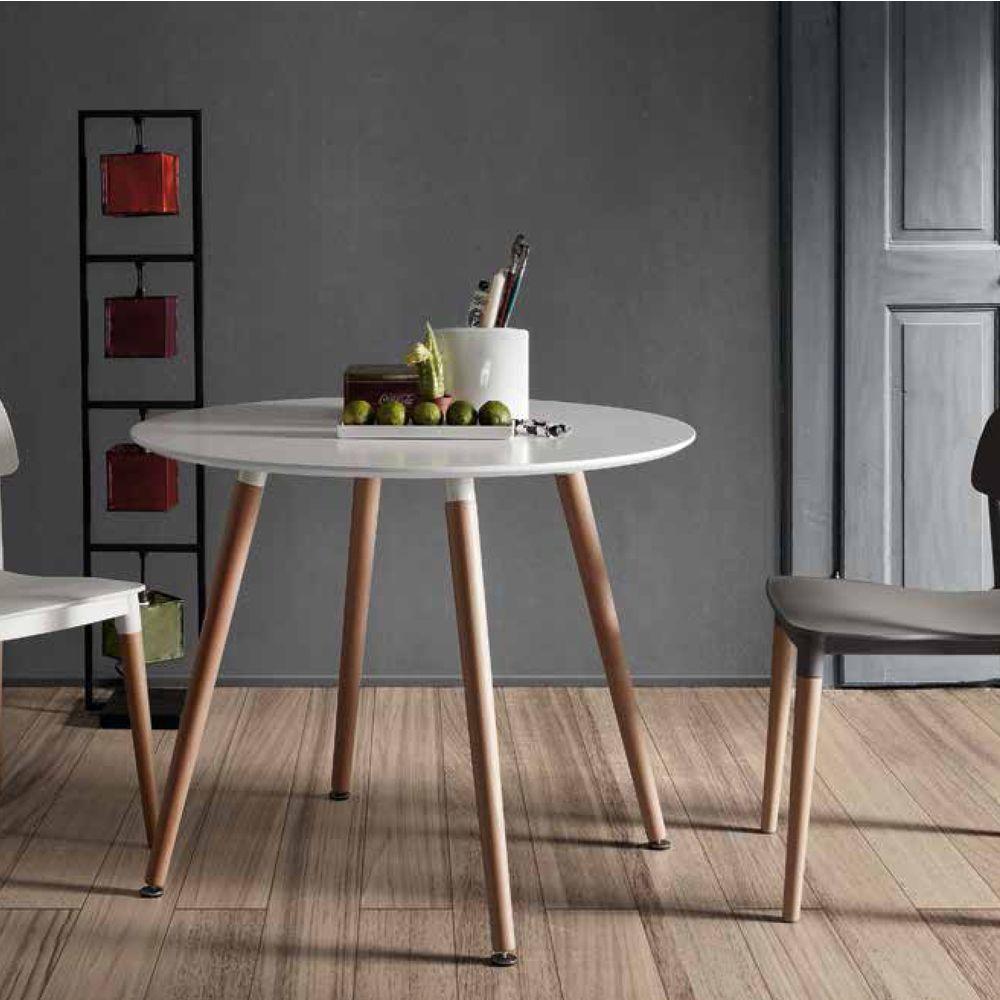 Tavolo rotondo in legno Dedo, design moderno Tavolo