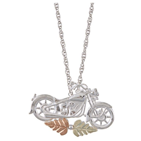 Black Hills Gold and Silver Motorcycle Necklace (Motorcycle pendant) ($59) ❤ liked on Polyvore featuring jewelry, necklaces, multi colored necklace, tri color necklace, chains jewelry, long pendant and motorcycle necklace
