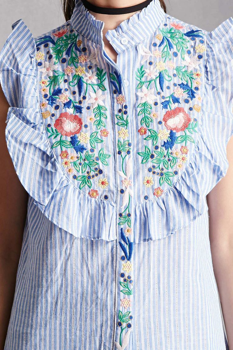 Embroidered Pinstripe Top