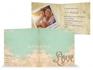 Klappkarte Hochzeitseinladung Mit Wolken Turkis Himmel Love Foto