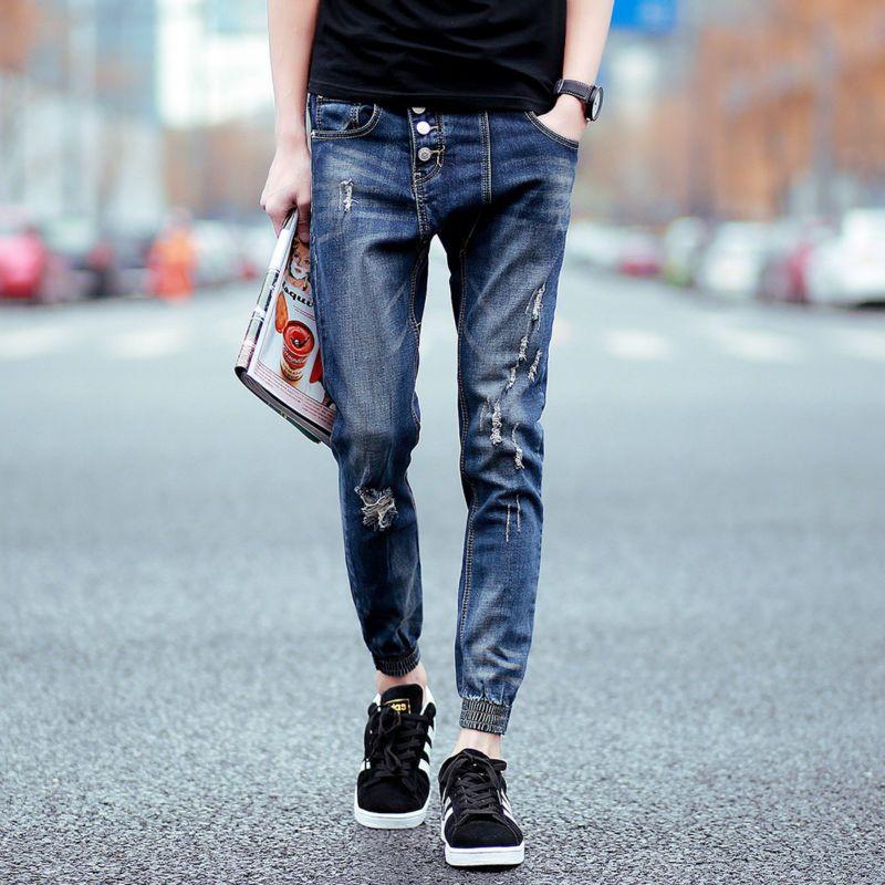 Pantalones Basculador Hombres Button Fly Denim Jogging Para Hombre Nueva Moda Altura Del Tobillo Jeans De Moda Pantalones Rasgados De Hombre Petos Para Hombre