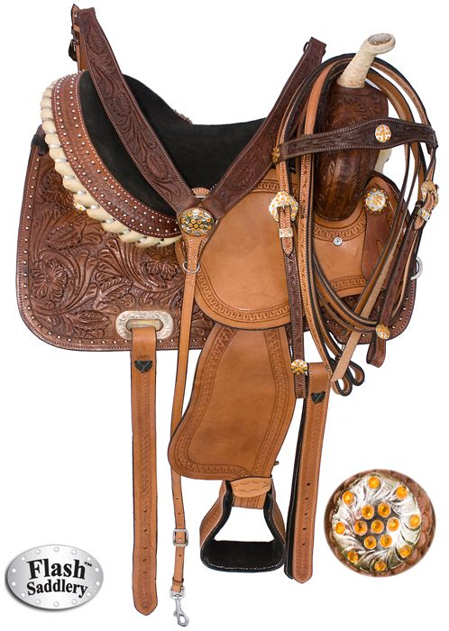 16 In Great American Western Leather Horse Saddle Barrel Racing Trail U-R-16