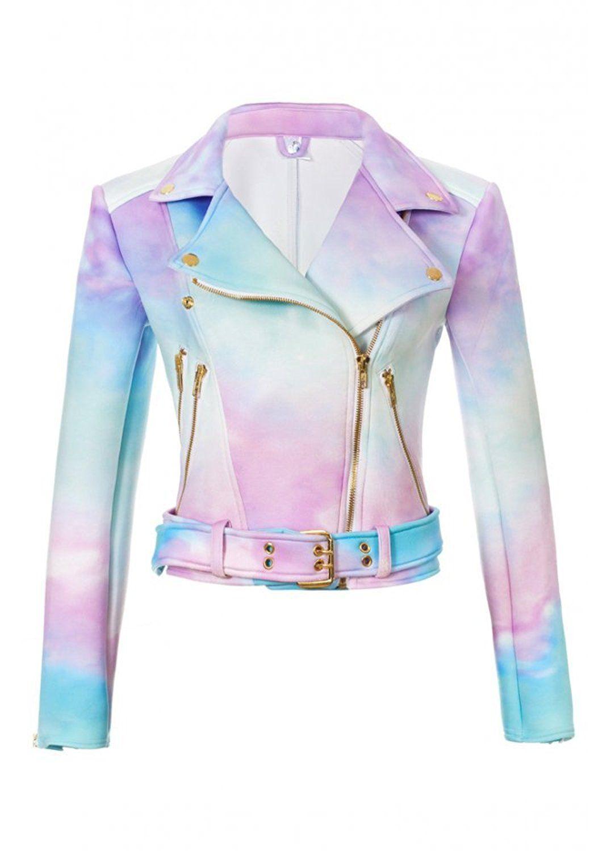 9323ba6a835 Sugarpills Clothing Ombre Pastel Goth Women s Moto Biker Jacket XS  Amazon. co.uk  Clothing