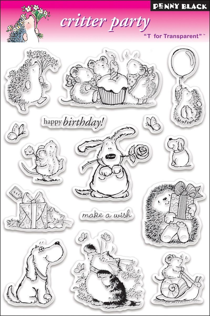 Rubber stamps arts and crafts - Amazon Com Penny Black Clear Stamp Set Critter Party Arts Crafts