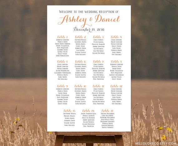 Printable Large Wedding Seating Chart by HelloLoveCo