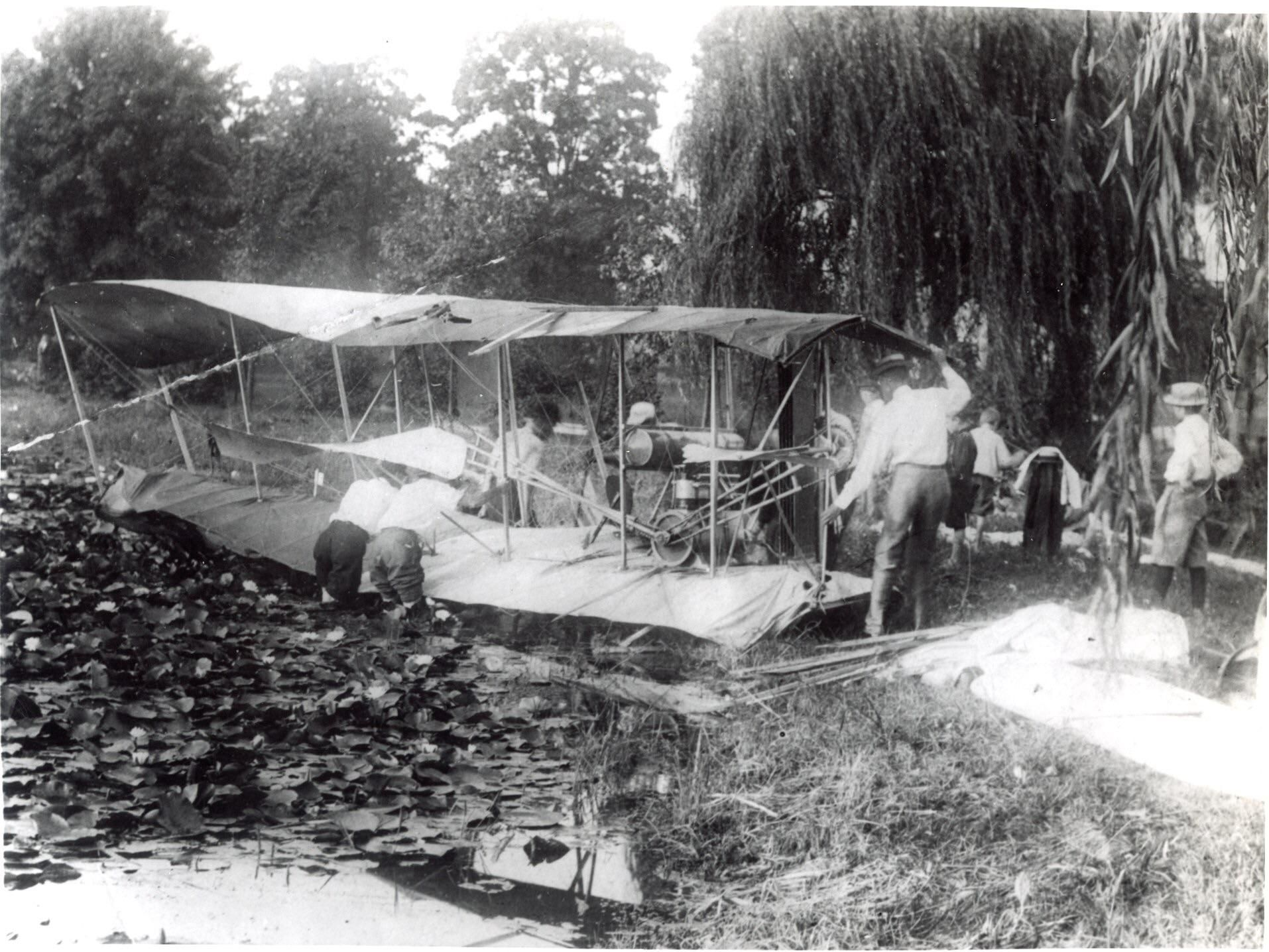 Wright Brothers' aircraft following crashing into a pond in the town park in Parkersburg, Wes... #westvirginia