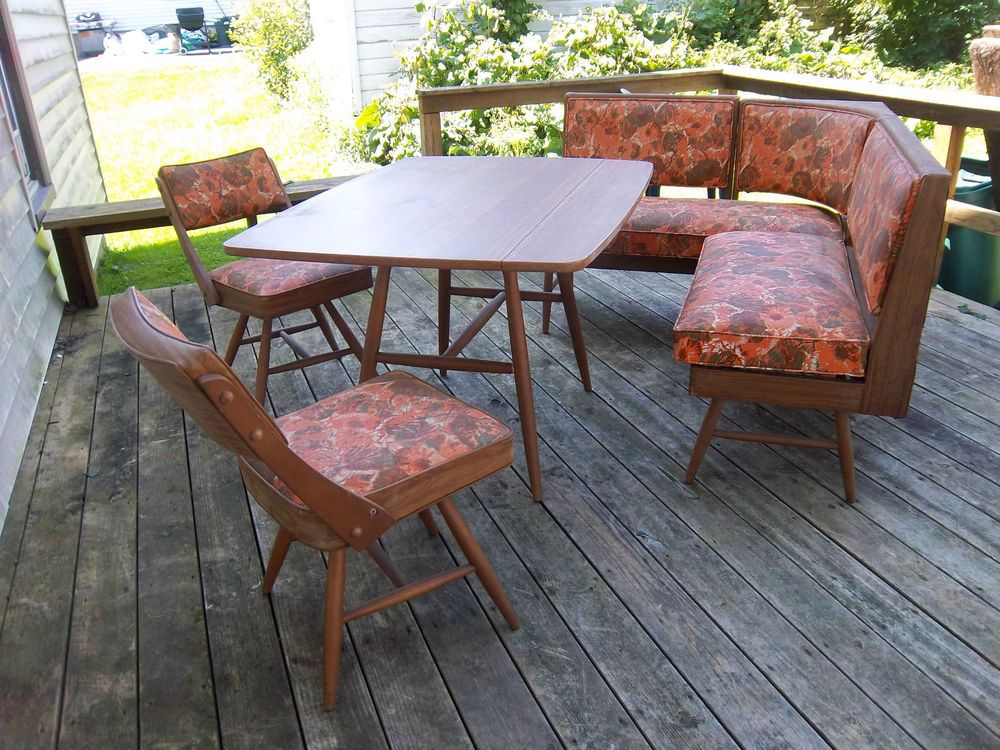 Mid Century Modern Retro Floral Dinette Set Chairs Bench Table Dormalux  Buffalo