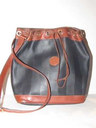 a0959e31009d Fendi Mint Vintage Xl Size High-end Bohemian Drawstring Bucket Black Pecan  Satchel in black wide striped coated canvas and burnt orange or pecan  colored ...