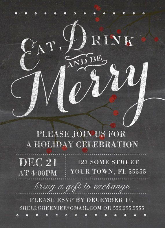 Christmas Invitation Template - Winter Chalkboard Holiday Party