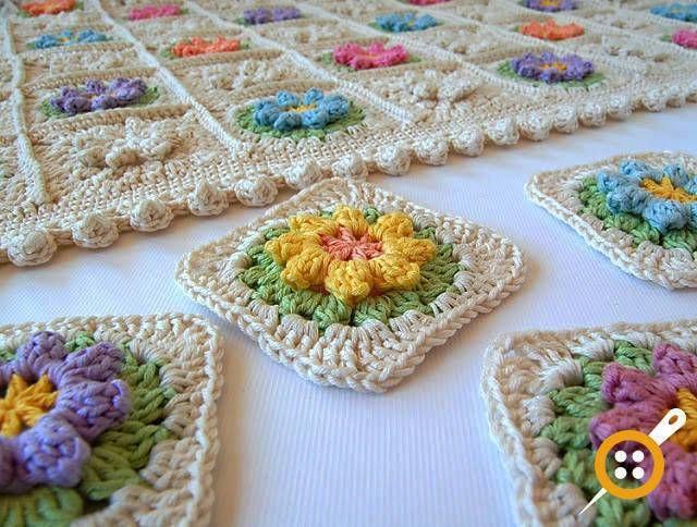 Popcorn Battaniye Yapımı - Çiçekli Bebek Battaniyesi Yapımı   Pinterest