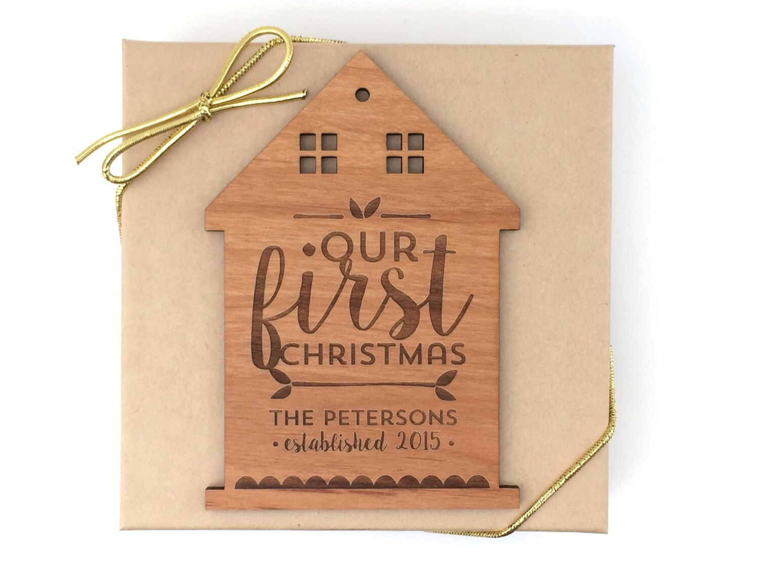Custom first christmas ornament - Our First Christmas Ornament Personalized Wedding Wood House Custom Laser Engraved House Our 1st Christmas Home Ornament