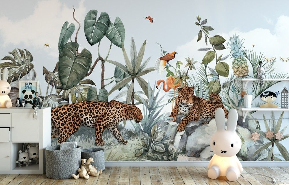 Peel-and-Stick Removable Wallpaper Origami Animals African Safari Wild Lion