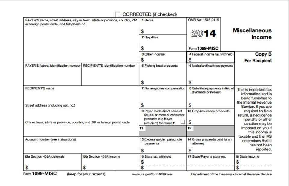 1099 Misc form Download Printable 2014 form 1099 Misc