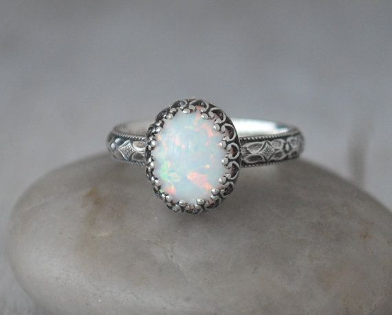Oval Opal Ring Sterling Silver Handcrafted Artisan Silver Ring Sterling Silver Opal Ring  October Birthstone