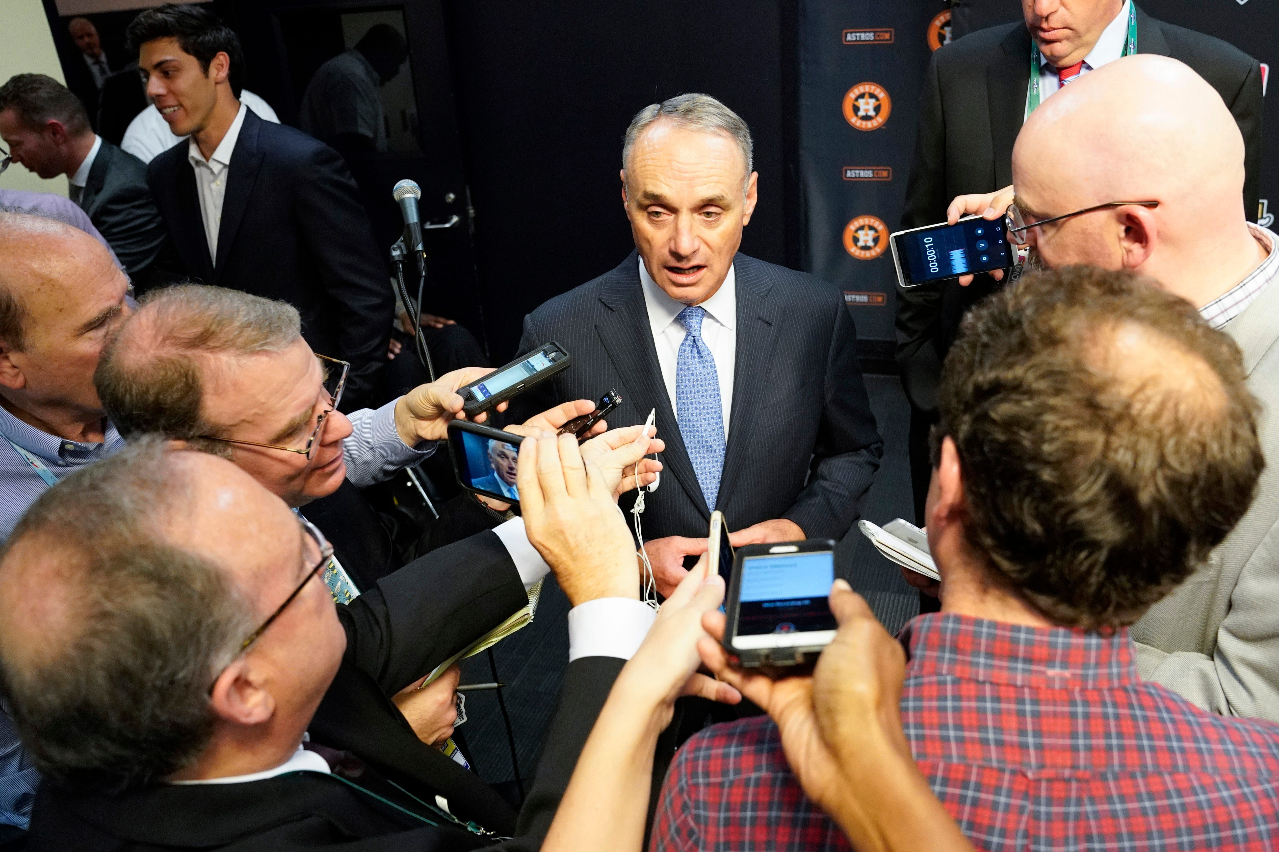 Mlb Commissioner Rob Manfred On Astros Controversy We Have To Be Tremendously Concerned Minute Maid Park Mlb New York Yankees