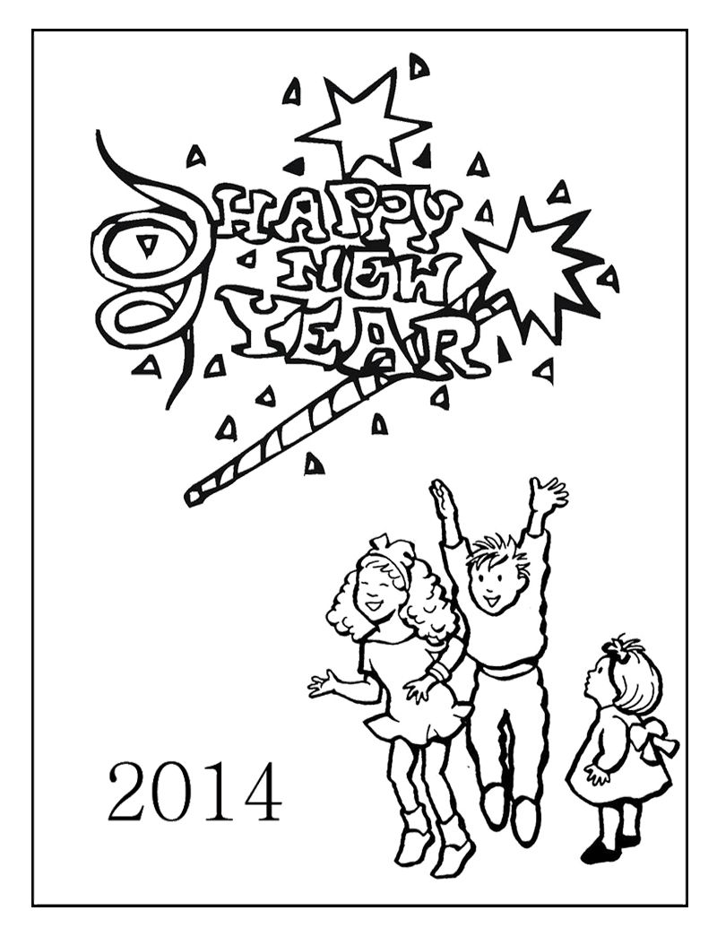 The Kids Happy New Year Coloring Page