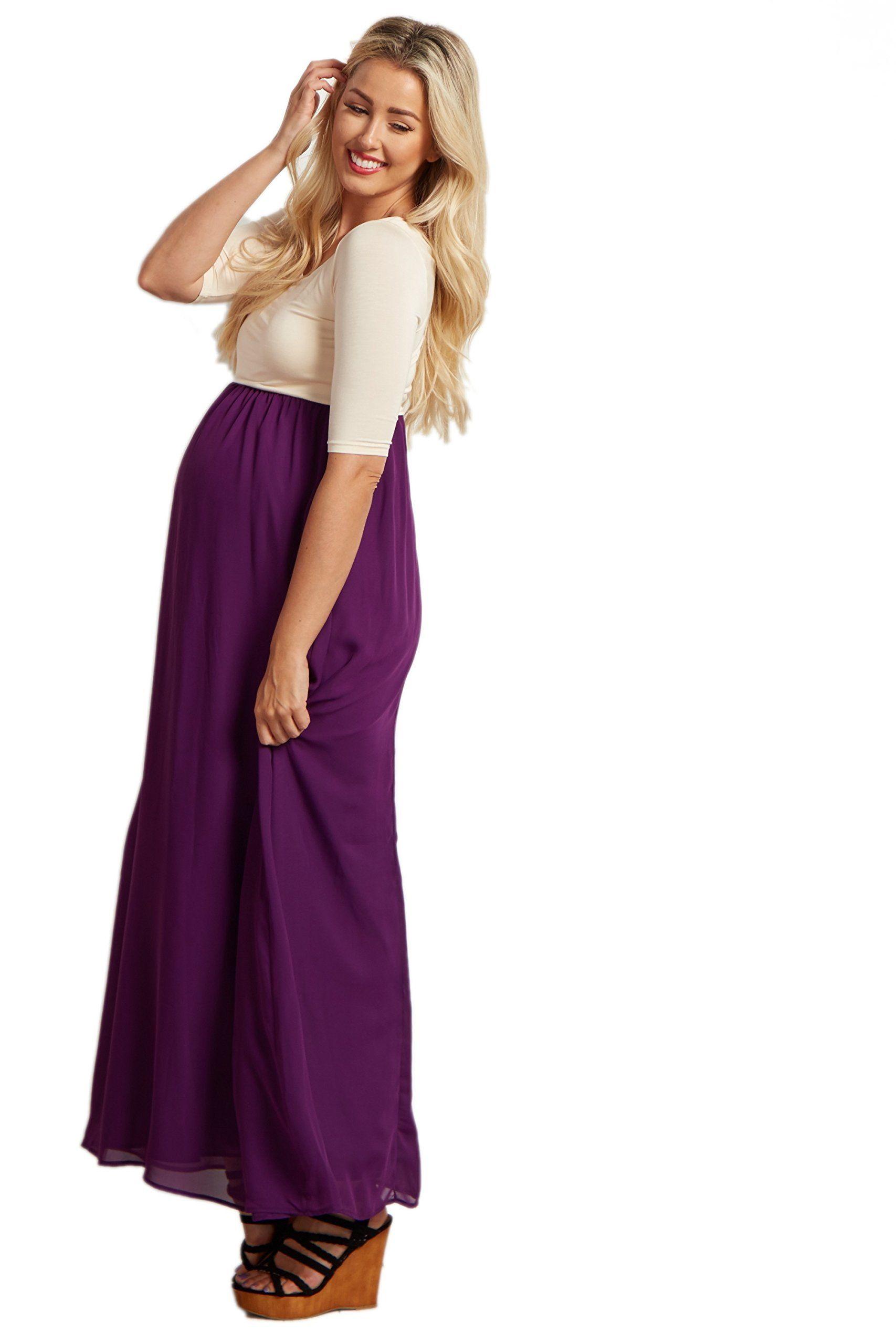 af39e9a4b6630 Women Maternity Clothes - PinkBlush Maternity Purple Chiffon Colorblock  Tall Maternity Maxi Dress Medium *** Discover more by going to the photo  web link.