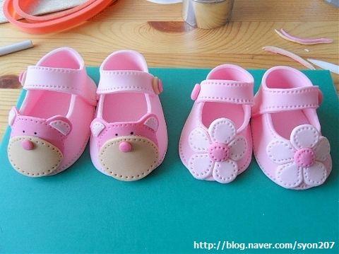 make fondant baby shoes