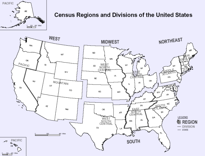 Us Census Geographical Region Map United States Census Us Map Wikipedia