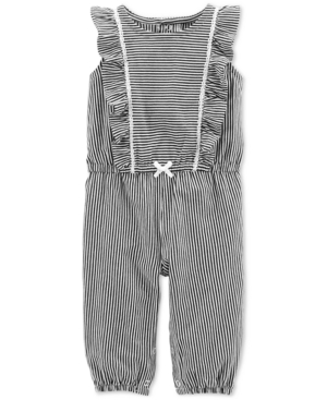 b58bc4a9089 Carter s Baby Girls Striped Ruffled Cotton Jumpsuit - Black 9 months ...