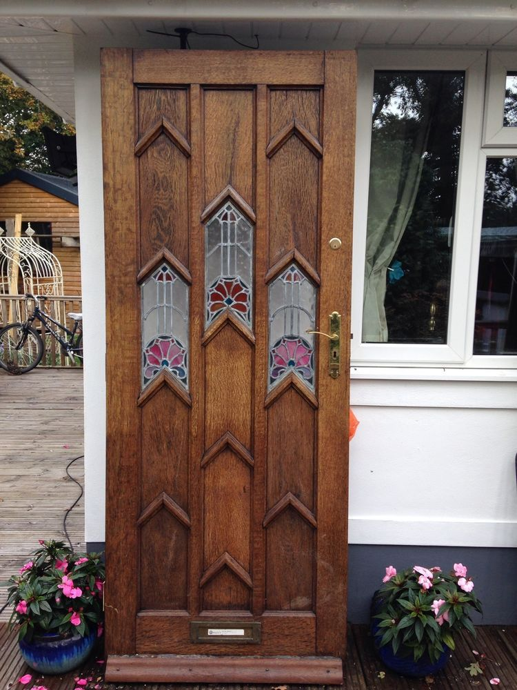 Charmant LARGE 1930s FRONT DOOR ART DECO WOODEN RECLAIMED PERIOD STAINED GLASS OAK  RARE