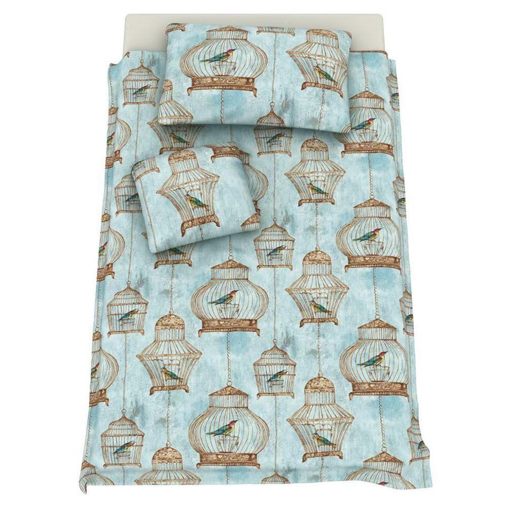 Kinderbettwäsche Bettwäsche Kinderzimmer Mädchen Yasmin blau vintage ...