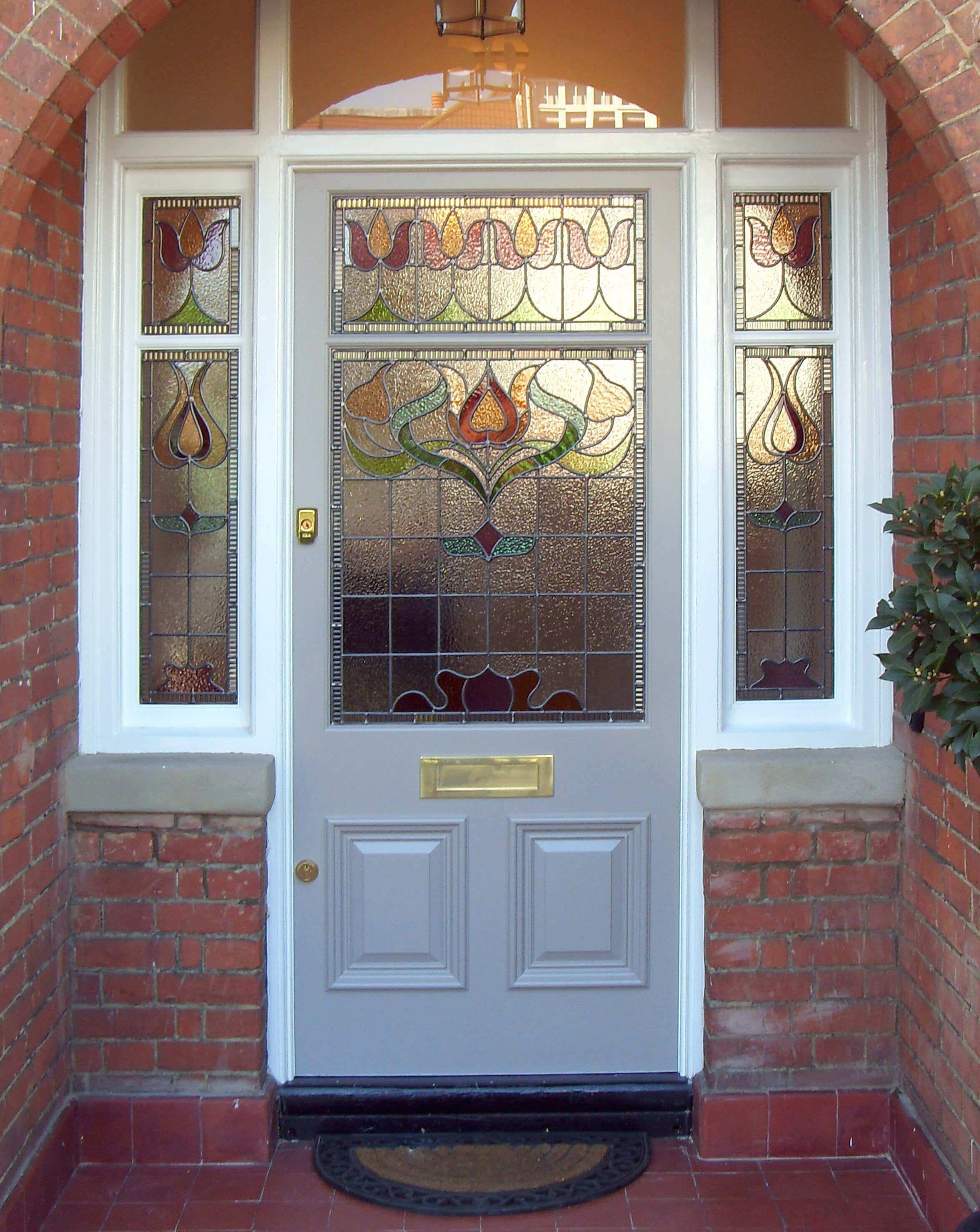 Custom Edwardian Front Door With Door Frame And Clear Glass Panels In The Same S 1000 In 2020 Exterior Doors With Glass Cottage Front Doors Painted Front Doors