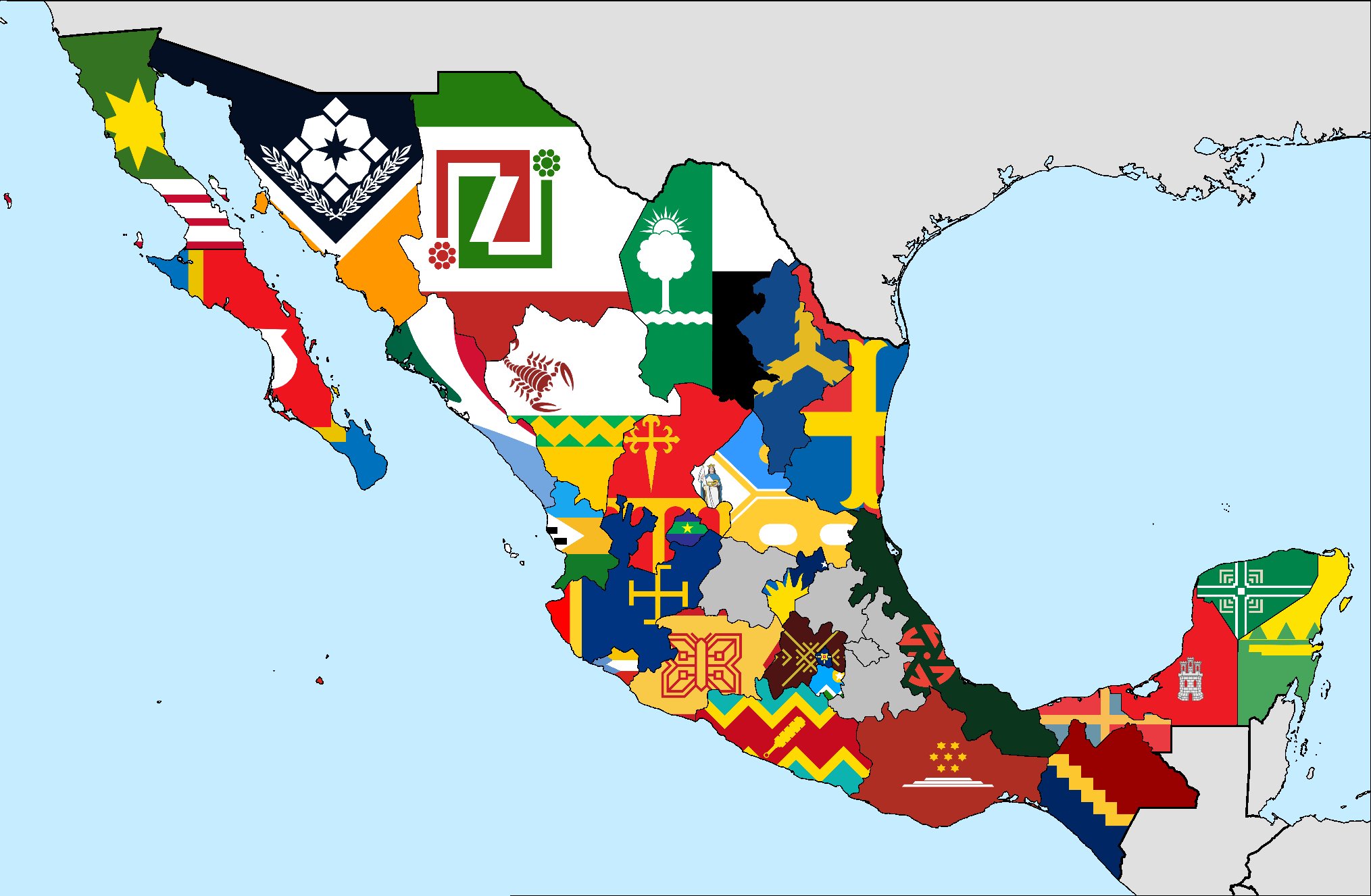 flag map of mexican states mexico
