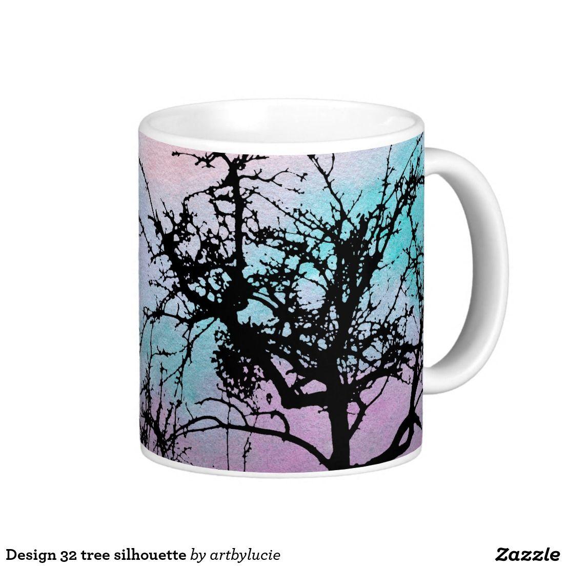 Design 32 tree silhouette classic white coffee mug Mugs