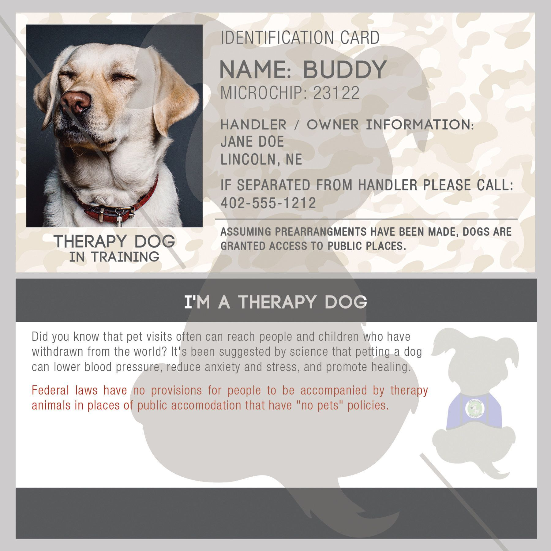 Id Card Therapy Dog In Training Therapy Dogs Emotional