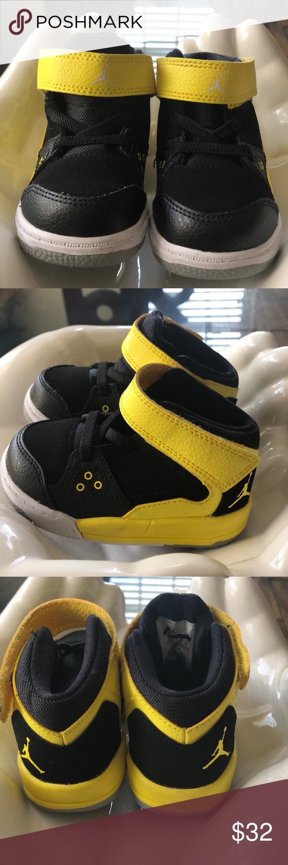 Black and yellow Jordan's baby sneakers
