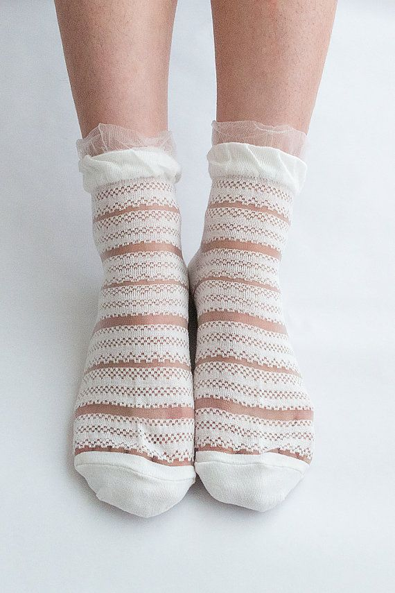 Women New Hezwagarcia Rayon Nylon Ruffle Lace Sheer Stripes White Ankle Socks Stocking Hosiery