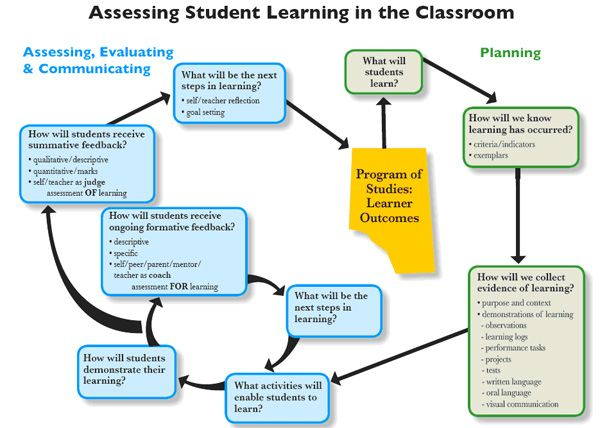 A graphic organizer displaying the steps, questions, and examples - assessment