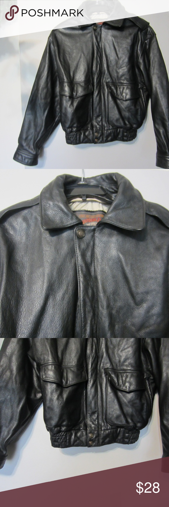 Wilson,s Mens Black Grainy Leather Bomber Jacket S Up for