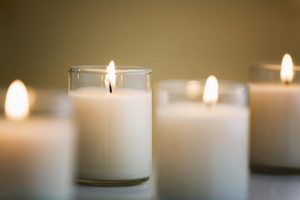 Close-up of white PartyLite candles.