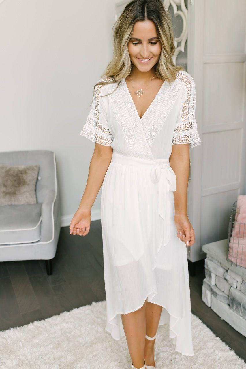 Short Sleeve Crochet High Low Wrap Maxi Off White Short White Boho Dress Casual Wedding Dress Short White Short Dress [ 1280 x 853 Pixel ]