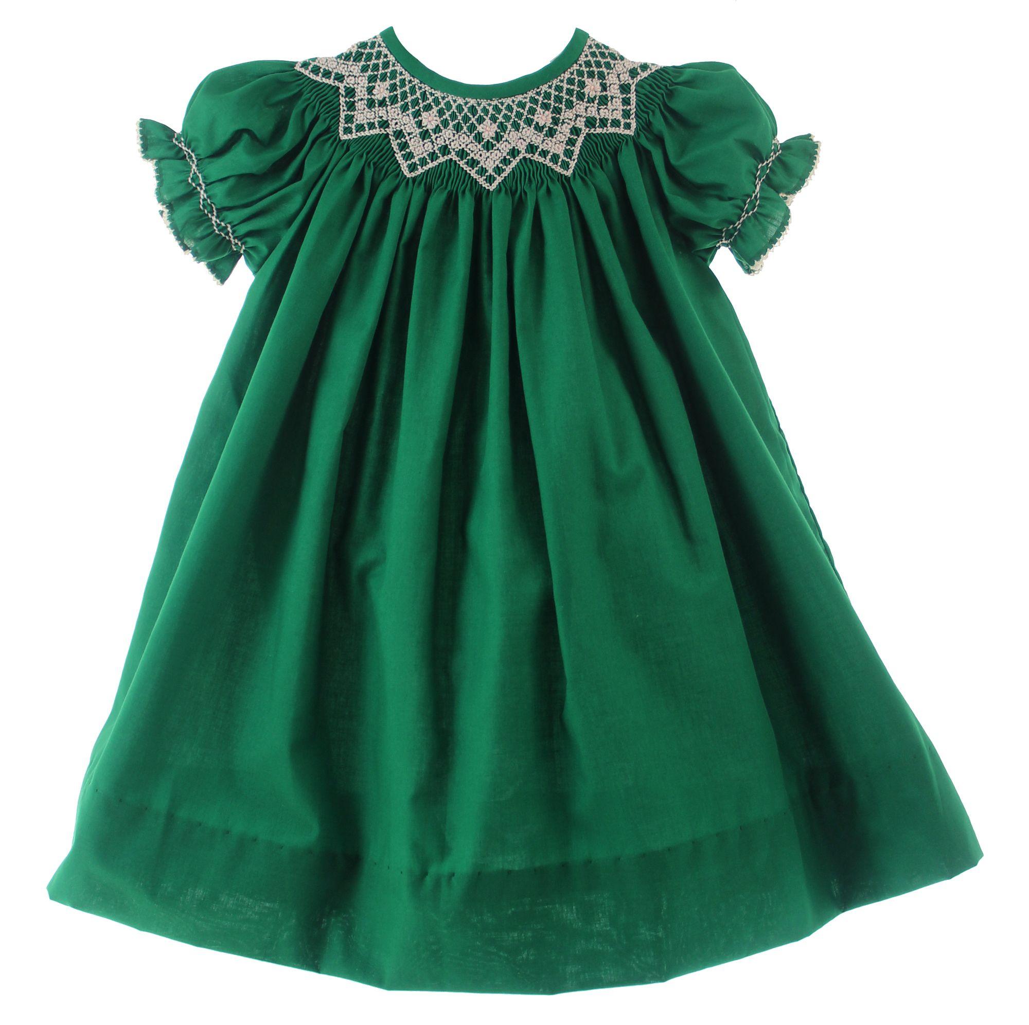Girls Emerald Green Smocked Christmas Dress