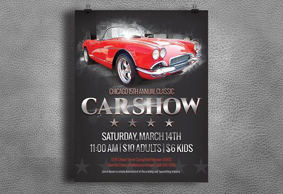 Car Show Flyer  Vintage  Classic  Flyer Template Brochures And