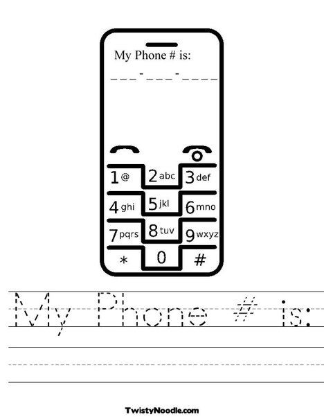 Do your kids know your cell\/home phone #? Many of my students don - phone book example