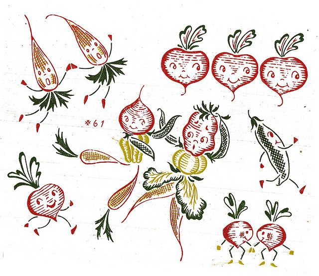 Embroidery design transfer. Anthropomorphic fruit and vegetable ...