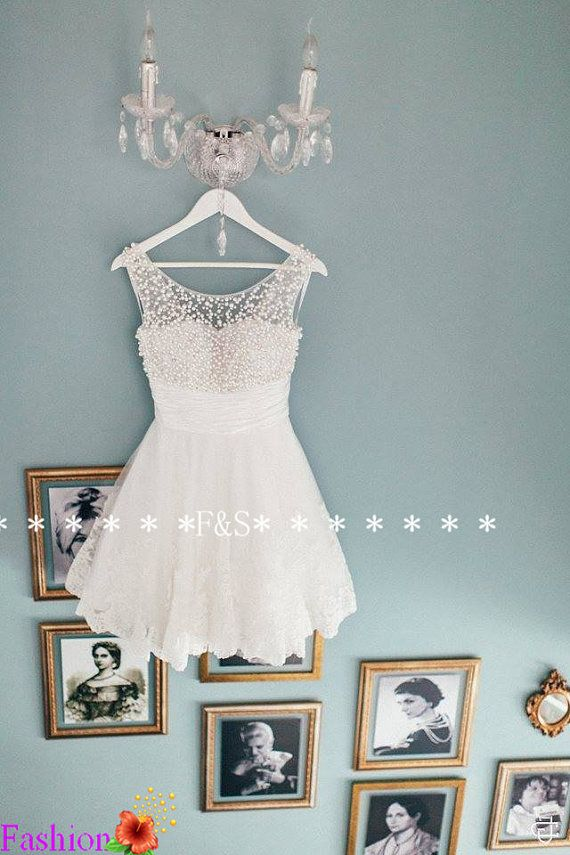 White Lace Prom Dress Short White Lace by FashionStreets on Etsy ...