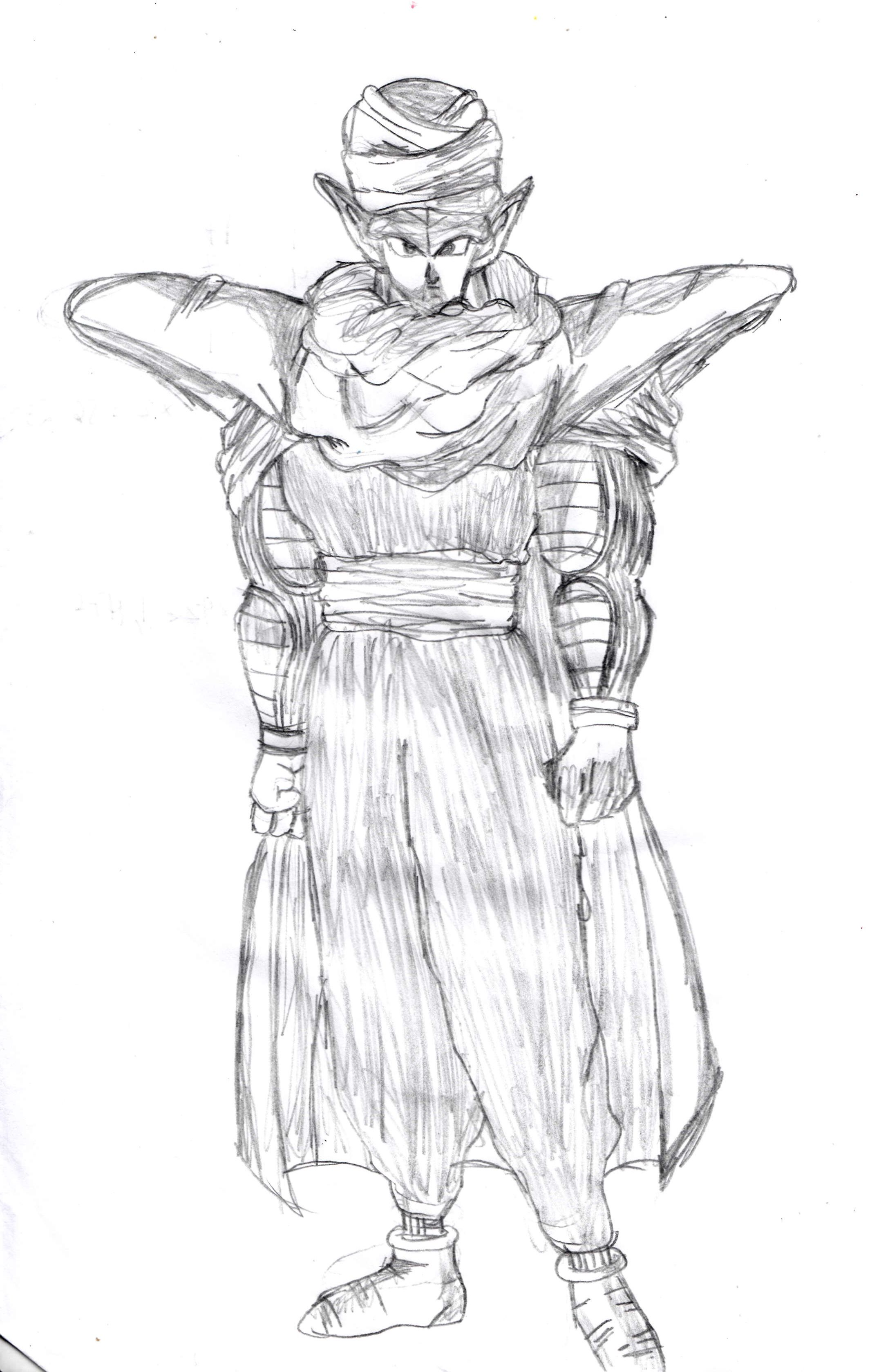 Piccolo dragon ball sketch created by this step by step tutorial