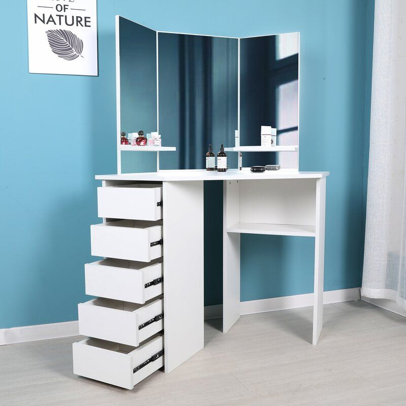 Cormier Corner Makeup Vanity With Mirror Furniture Vanity Desk Furniture Styles
