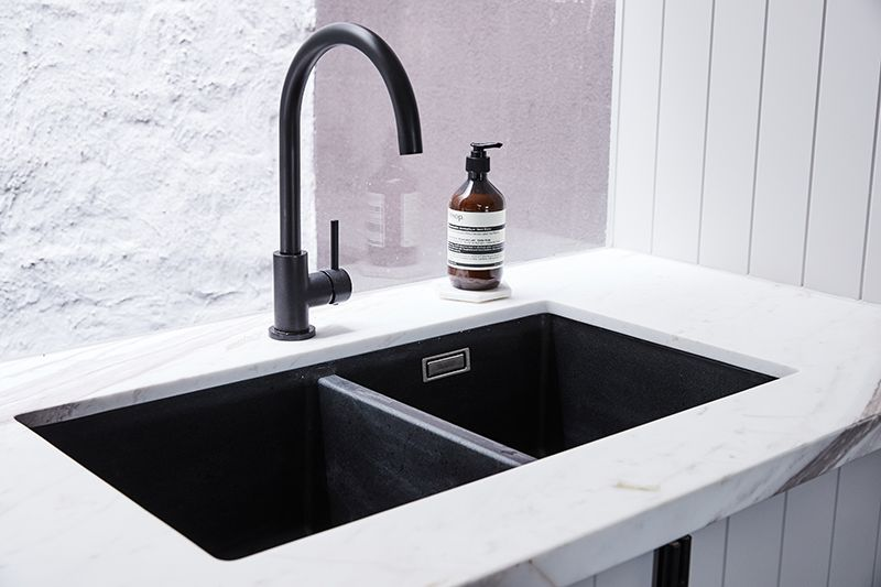 black sink kitchen cabinets set the style school rebecca judd loves melbourne lifestyle hintonlane8092 taps mixer kitchens