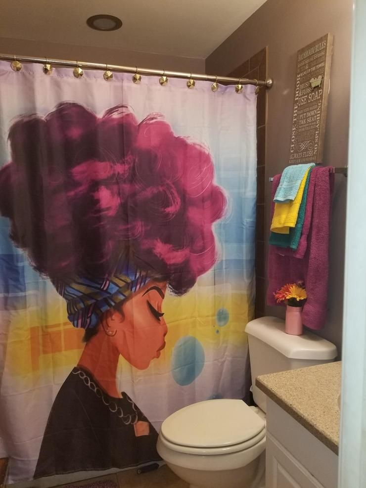 Afro African Black Girl Magic Shower Curtain Bathroom Decor Girl