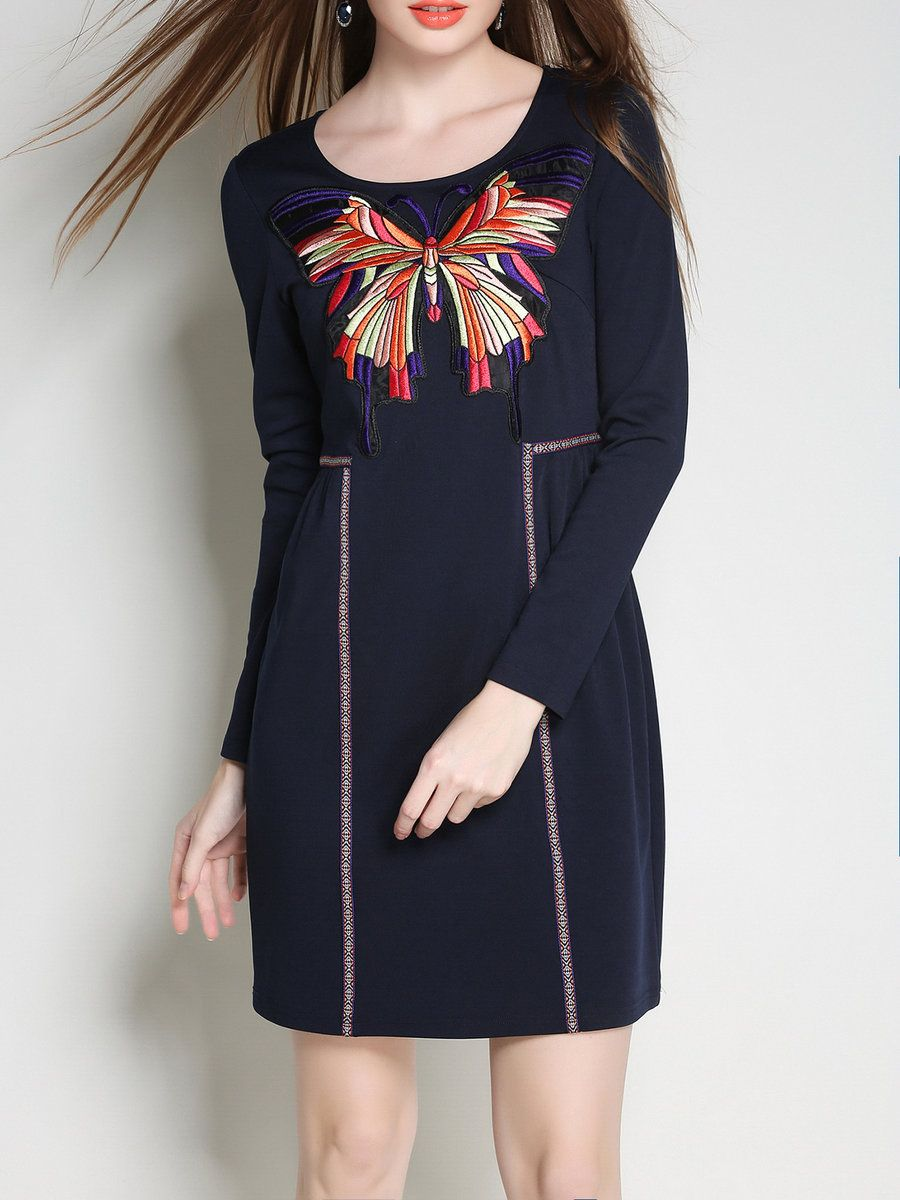 #AdoreWe #StyleWe Mini Dresses - Designer MINGYSYI Embroidered A-line Animal Print Long Sleeve Casual Mini Dress - AdoreWe.com