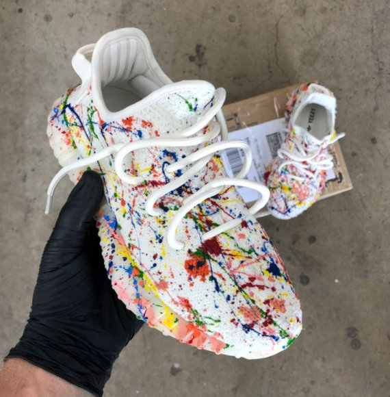 2c7a41cbf6c75 Custom Paint Splattered Yeezy s by BStreetShoes