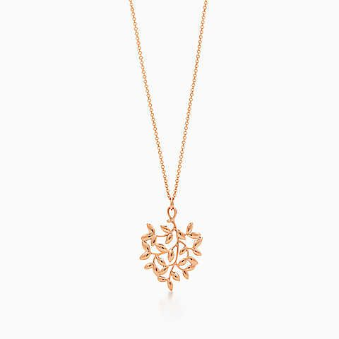 Paloma Picasso Olive Leaf pendant in 18k rose gold with a diamond, mini Tiffany & Co.
