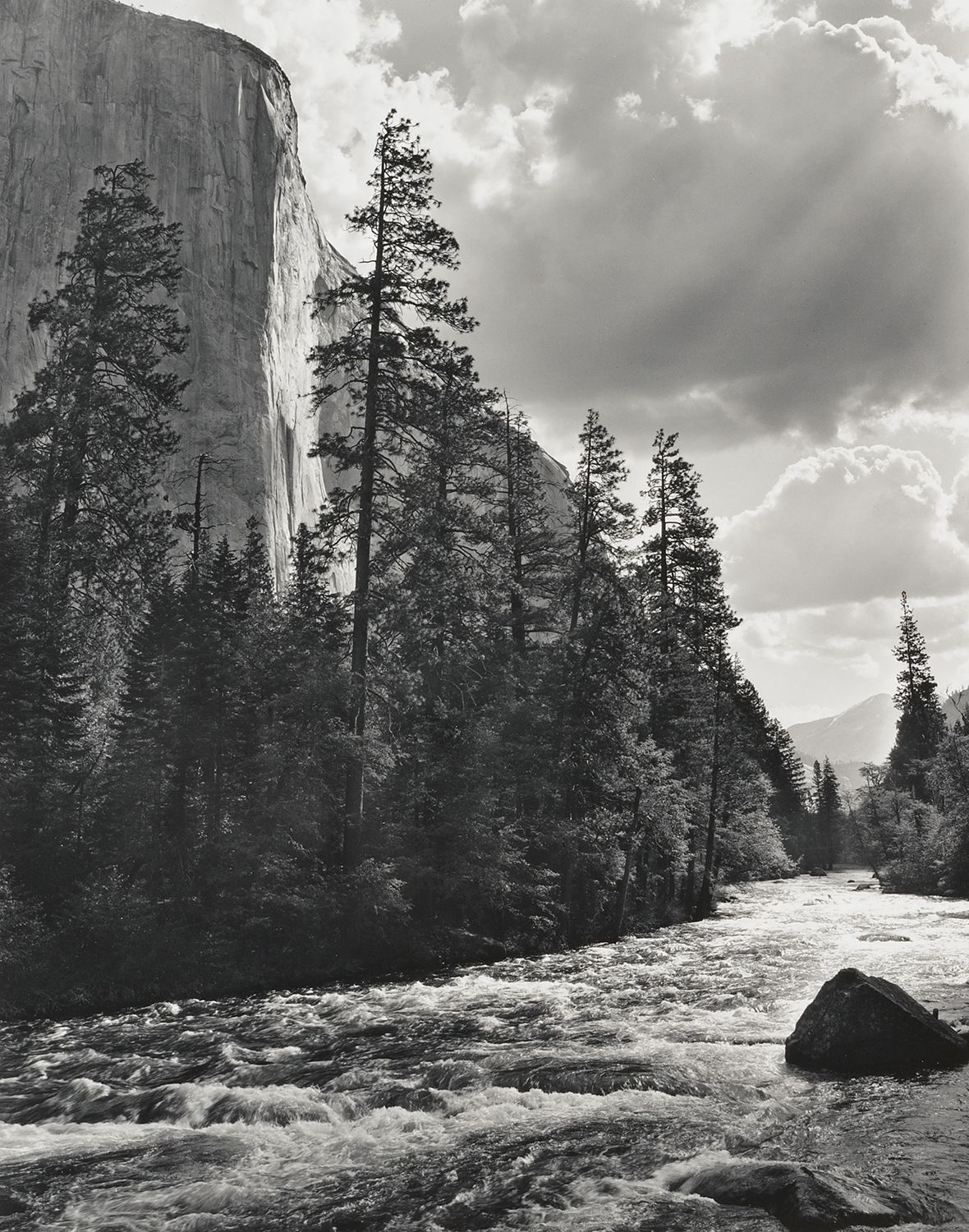 El capitan merced river clouds by ansel adams black and white